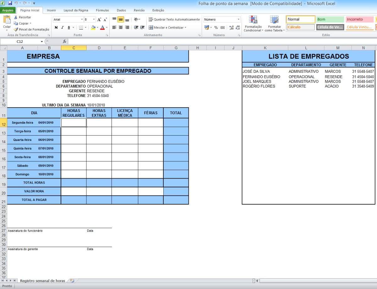 Planilha de Controle Semanal ( Foto: Divulgação)