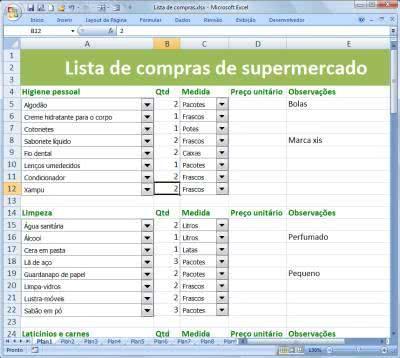 Planilha de Controle Supermercado ( Foto: Divulgação)