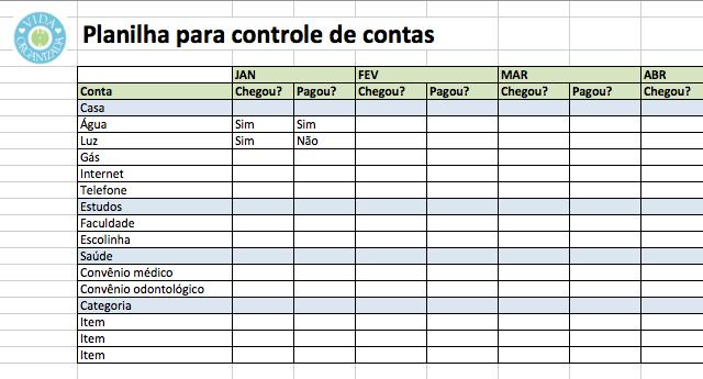 Planilha de Controle de Contas ( Foto: Divulgação)