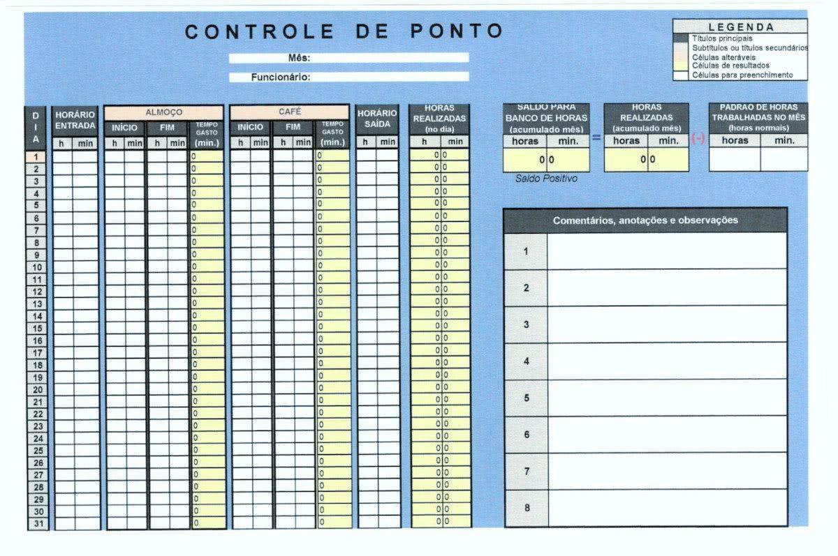 Planilha de Controle de Ponto: Excel Grátis para Baixar e