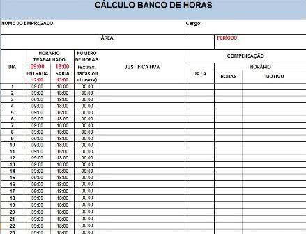 Planilha Banco de Horas Excel