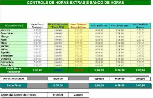 Planilha de Controle de Banco de Horas 3