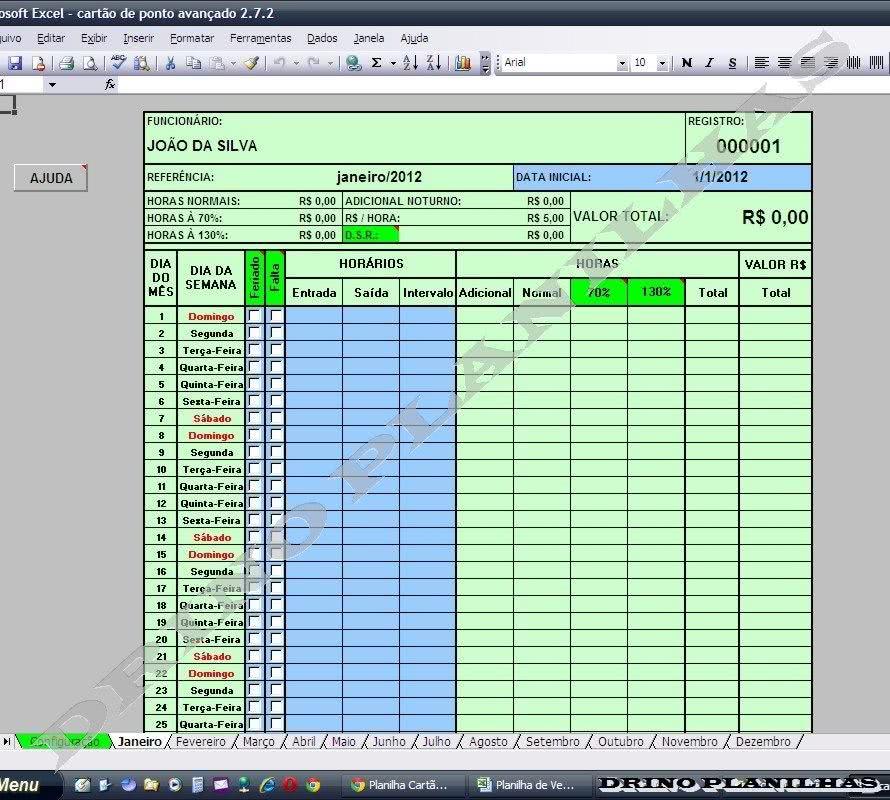 Planilha de Controle de Horas Trabalhadas 1