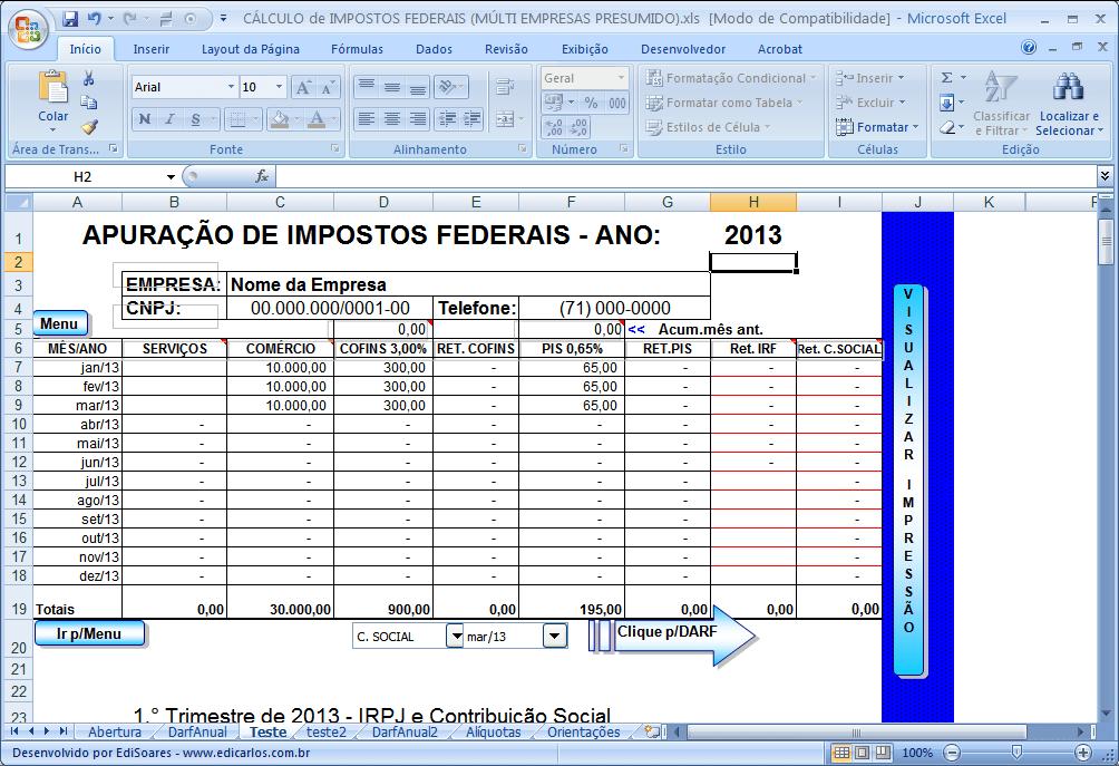 Planilha de Controle de Impostos 1