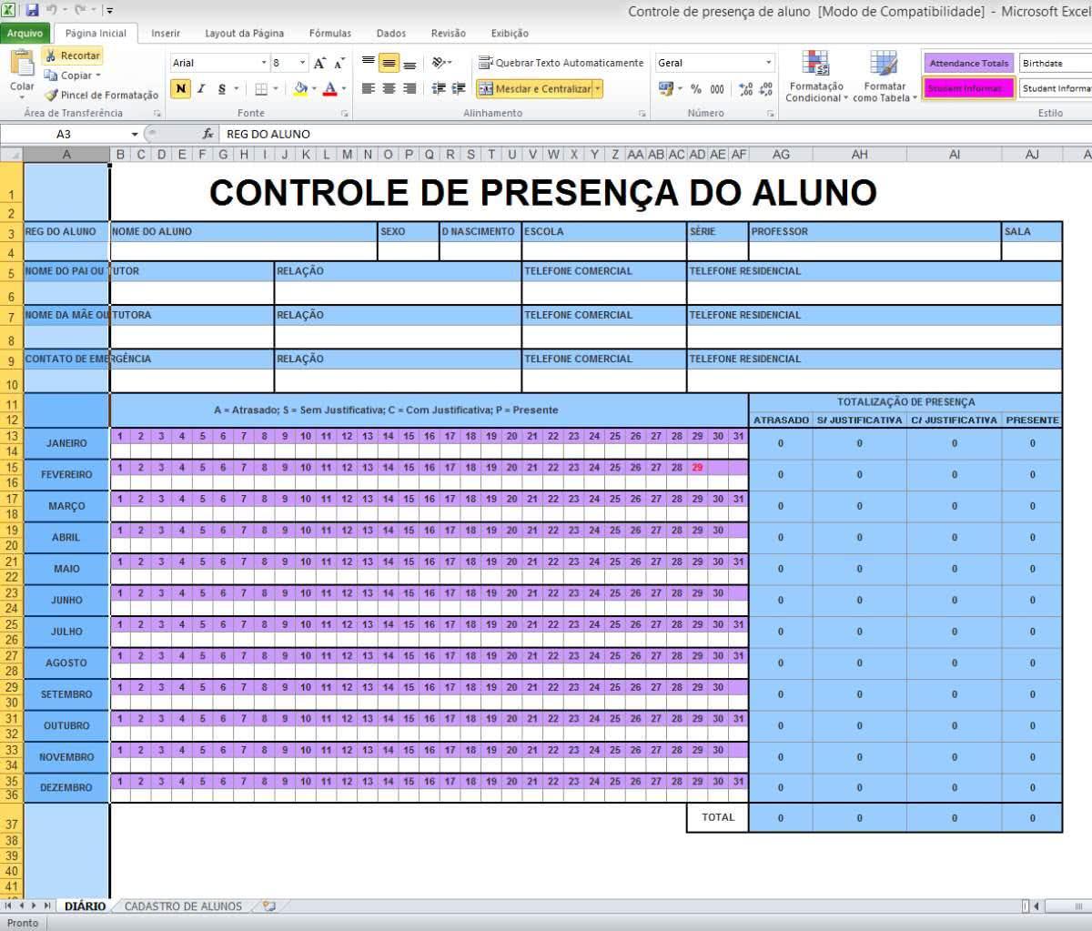 Planilha de Controle de Notas de Alunos 4